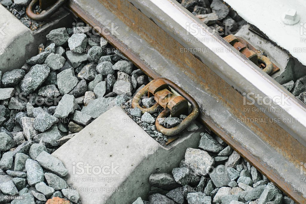 The construction of the railway line Moscow Central Railroad. stock photo