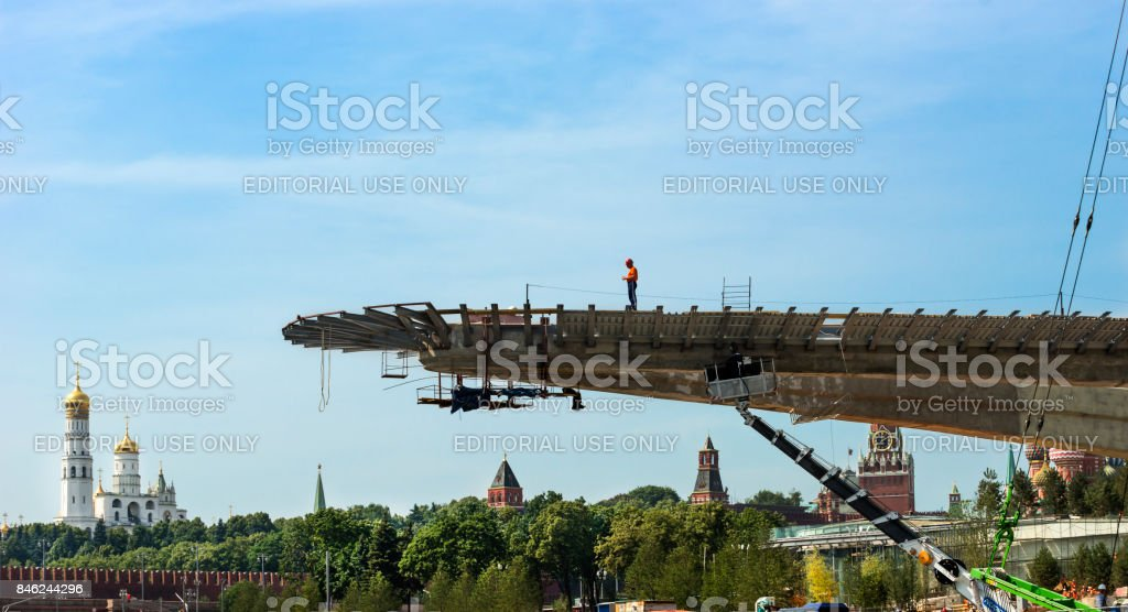 The construction of the 'Soaring bridge' in the Moscow park 'Zariadye'. stock photo