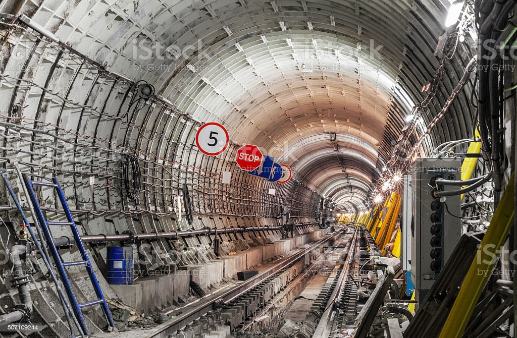 The construction of the subway tunnel stock photo