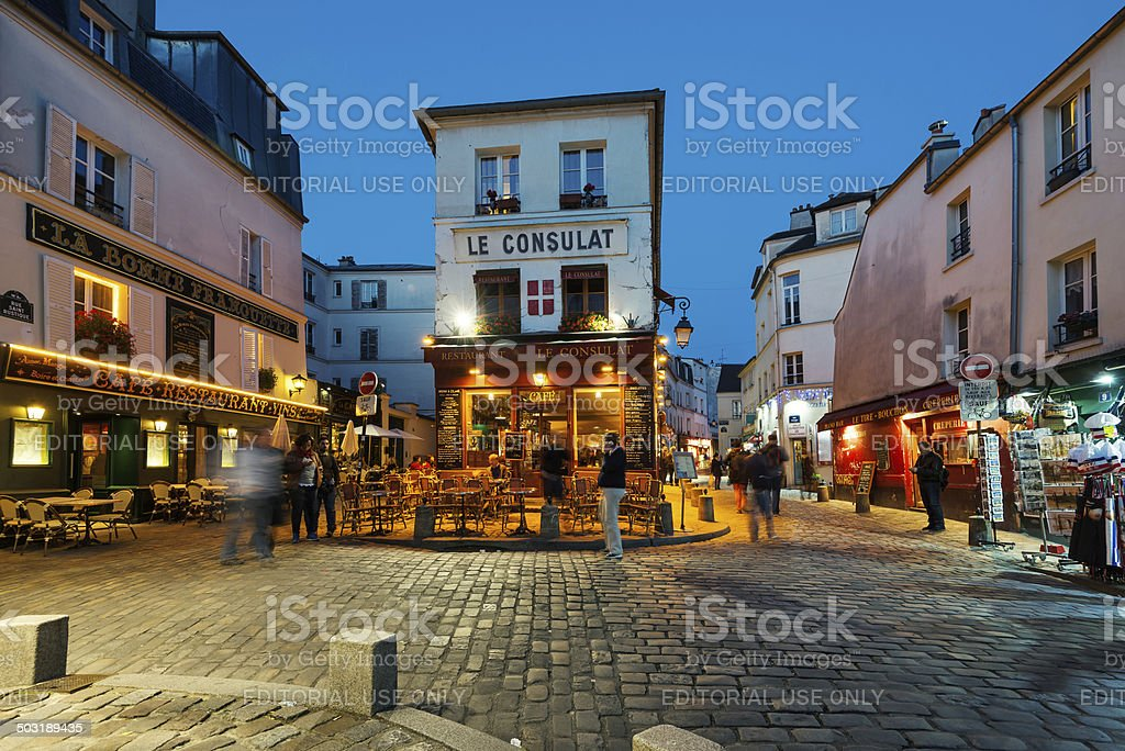 Le Consulat night view. stock photo