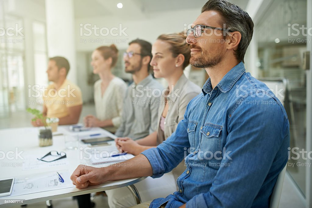 The content of the conference has captured their attention stock photo