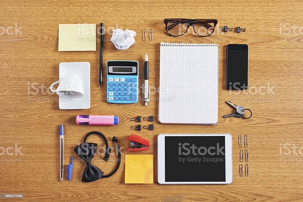The contents of  business workspace organized and composed. royalty-free stock photo