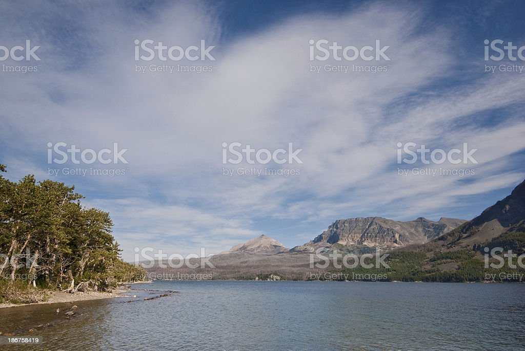 Saint Mary Lake and Divide Peak royalty-free stock photo