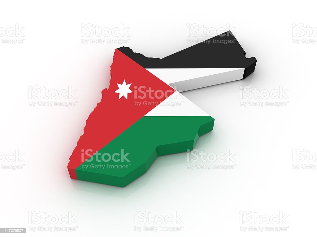 The contour of Jordan painted by parts of its flag  stock photo