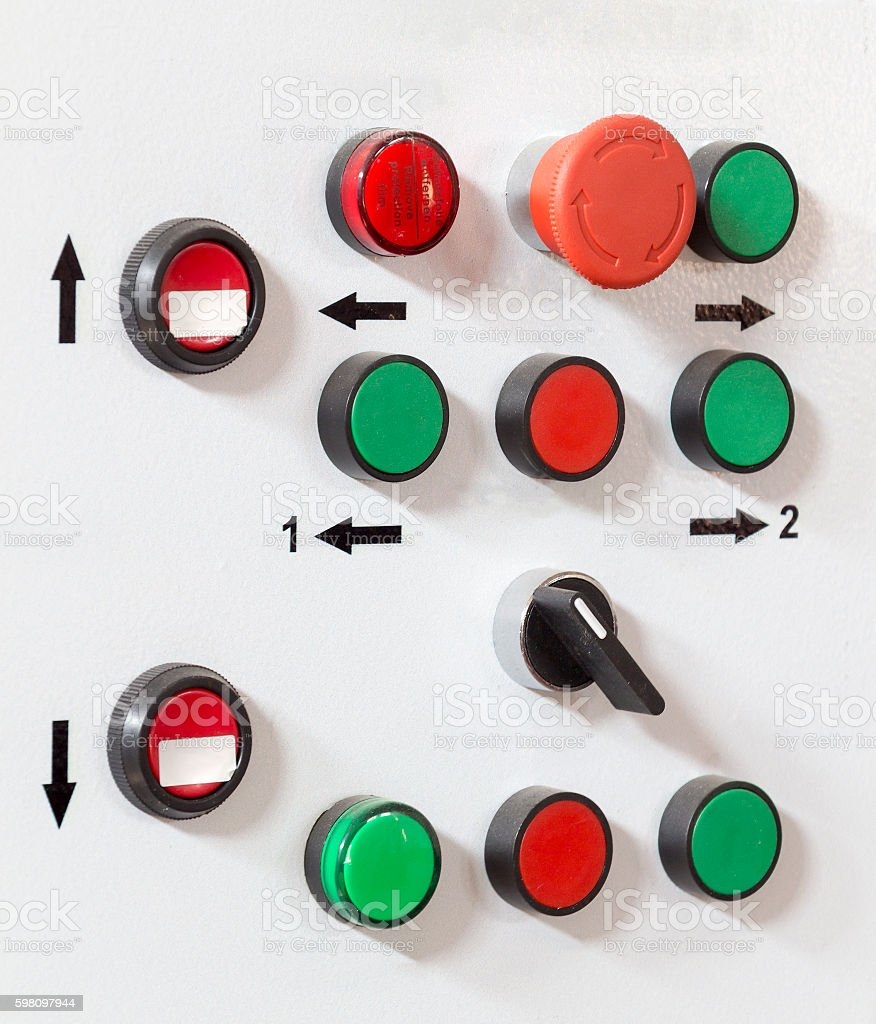 The control panel buttons stock photo