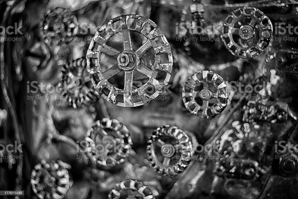 The Controls for a Large Steam Engine Locomotive royalty-free stock photo