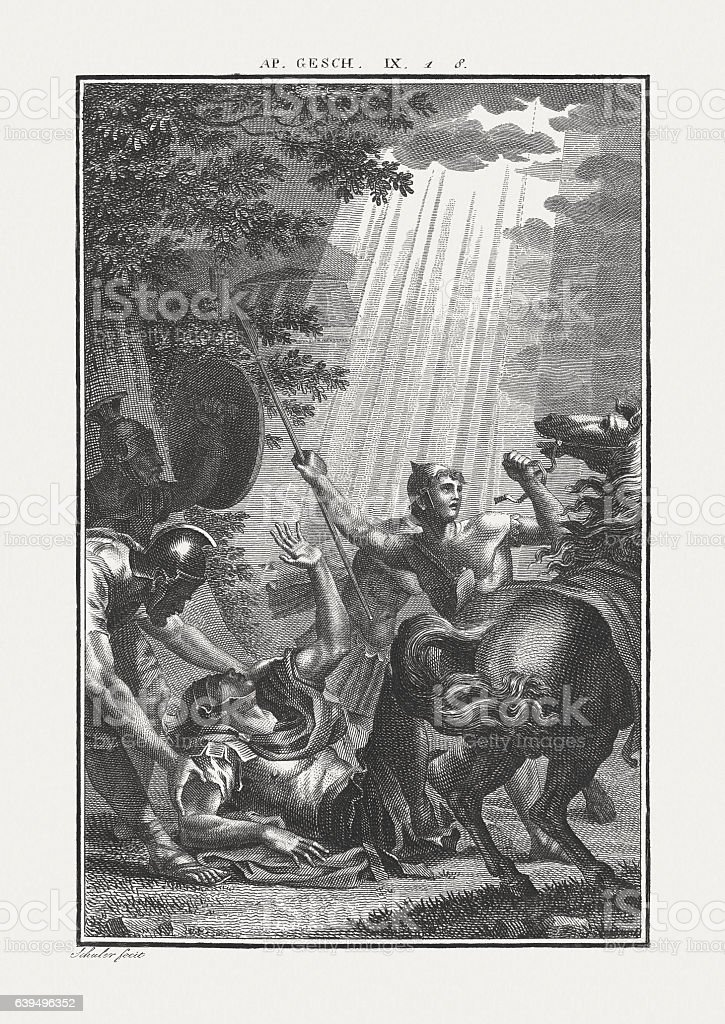 The Conversion of Saul (Acts 9), copper engraving, publisched c.1850 stock photo
