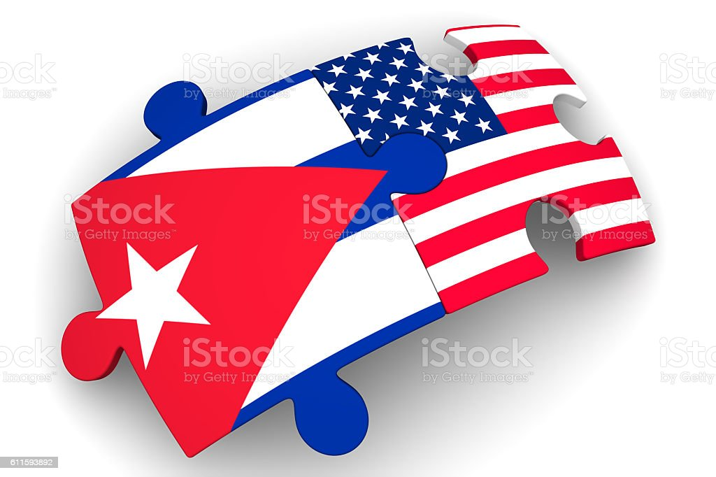 The cooperation of Cuba and the United States of America. Concept stock photo