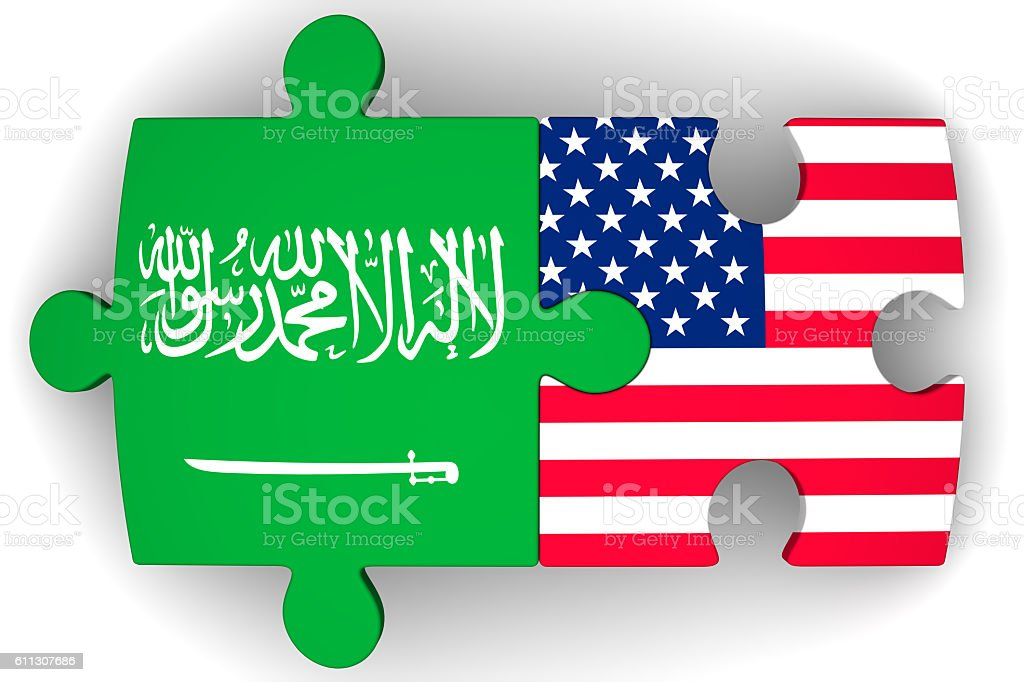 The cooperation of the Saudi Arabia and the United States of America. Concept stock photo