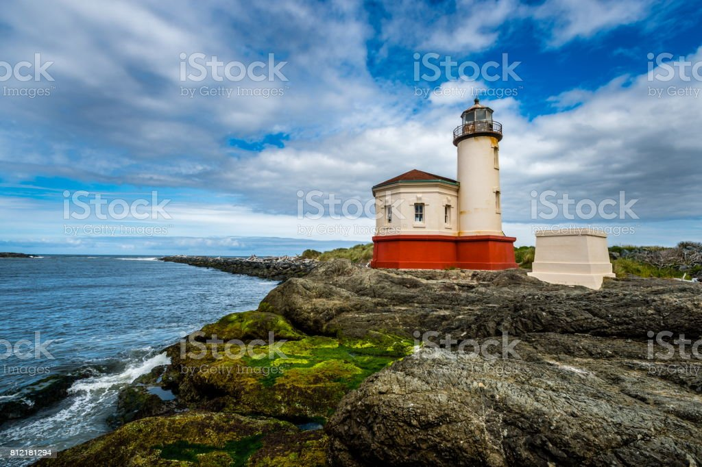 The Coquille River Lighthouse on the coast of Oregon stock photo