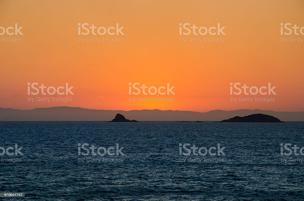 The Coral Sea On Queensland Coast at Dusk stock photo