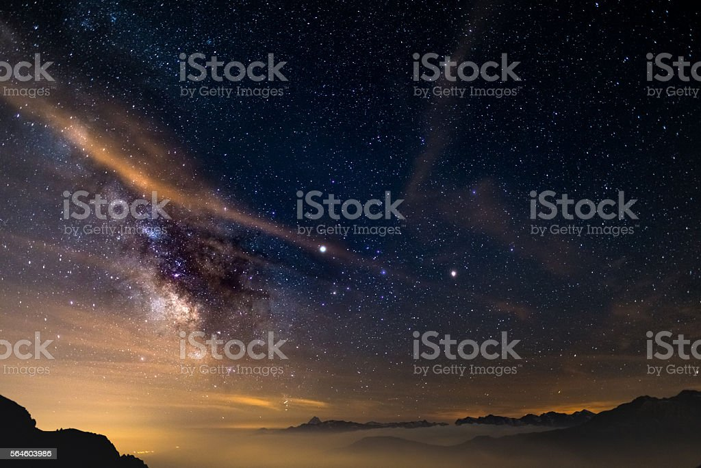 The core of the Milky Way above the Alps stock photo
