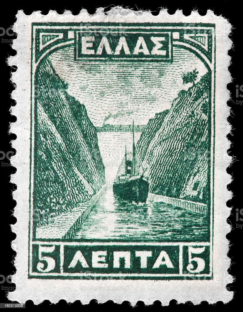 The Corinth Canal  and Steamship on Greek Vintage Postage Stamp stock photo