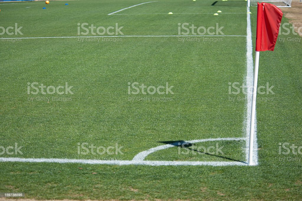 The Corner Kick on a Soccer Field at Park stock photo