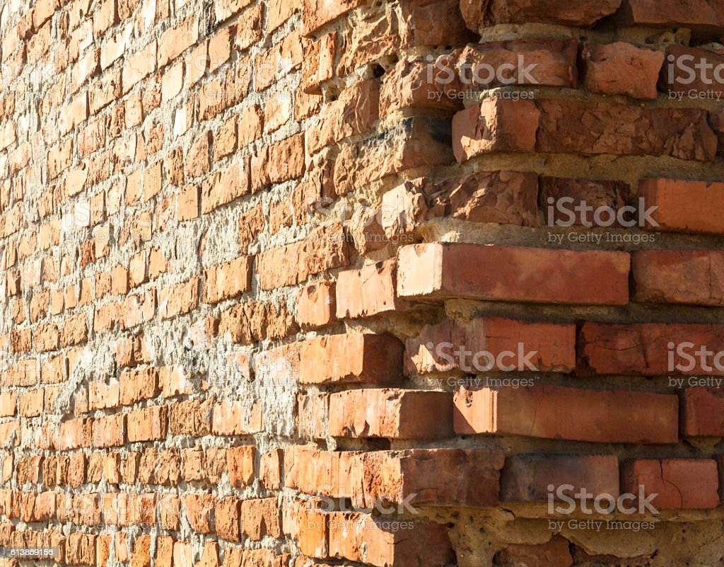 The corner of the old brick building stock photo