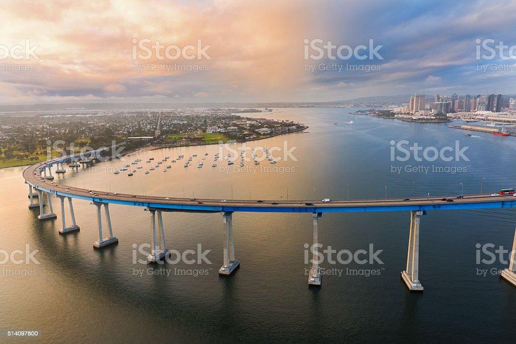 The Coronado Bridge At Dusk From Above stock photo