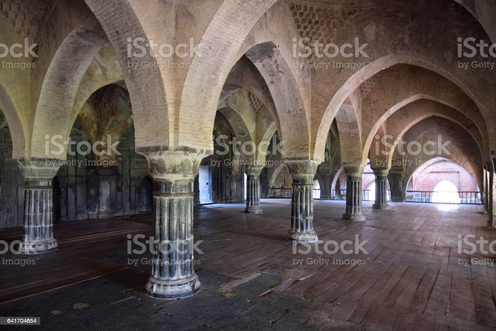 The corridor inside the Adina Mosque. stock photo