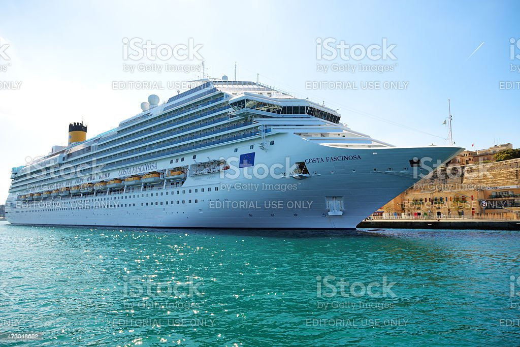 The Costa Fascinosa cruise ship with tourists stock photo