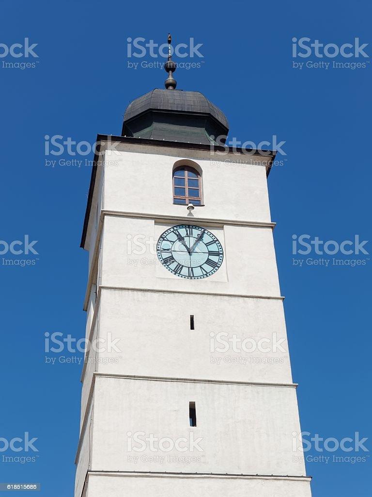 The Council Tower (Turnul Sfatului) in Sibiu city, Romania stock photo