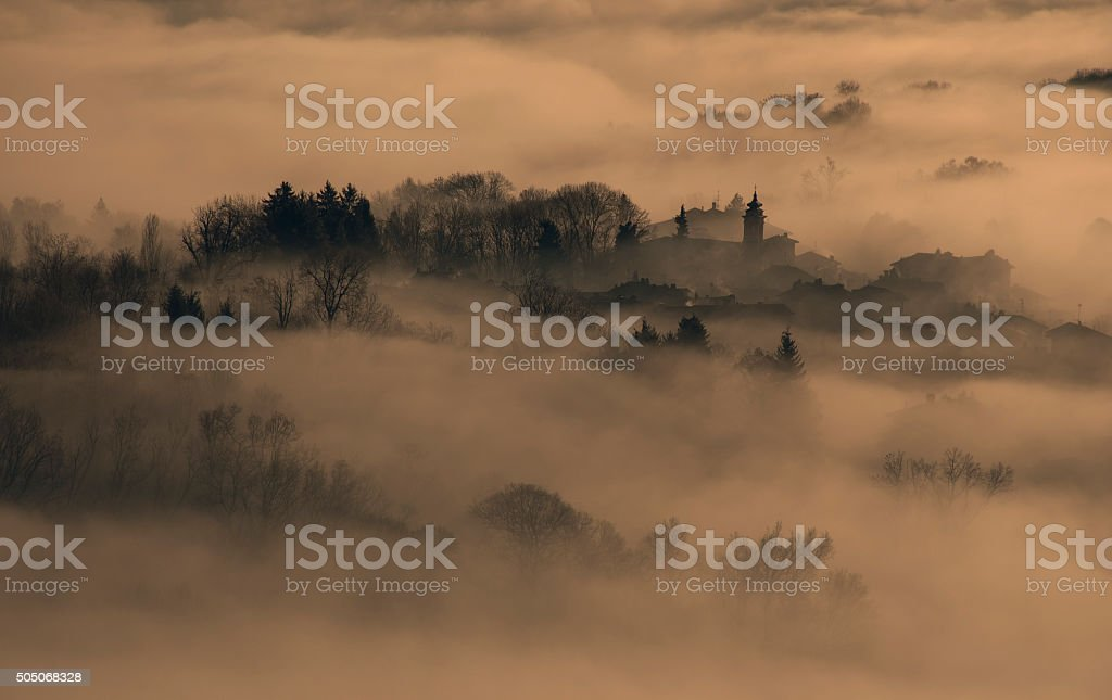 the country in the fog stock photo