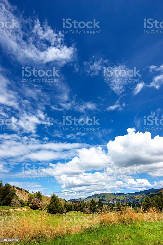 The countryside under clouds stock photo