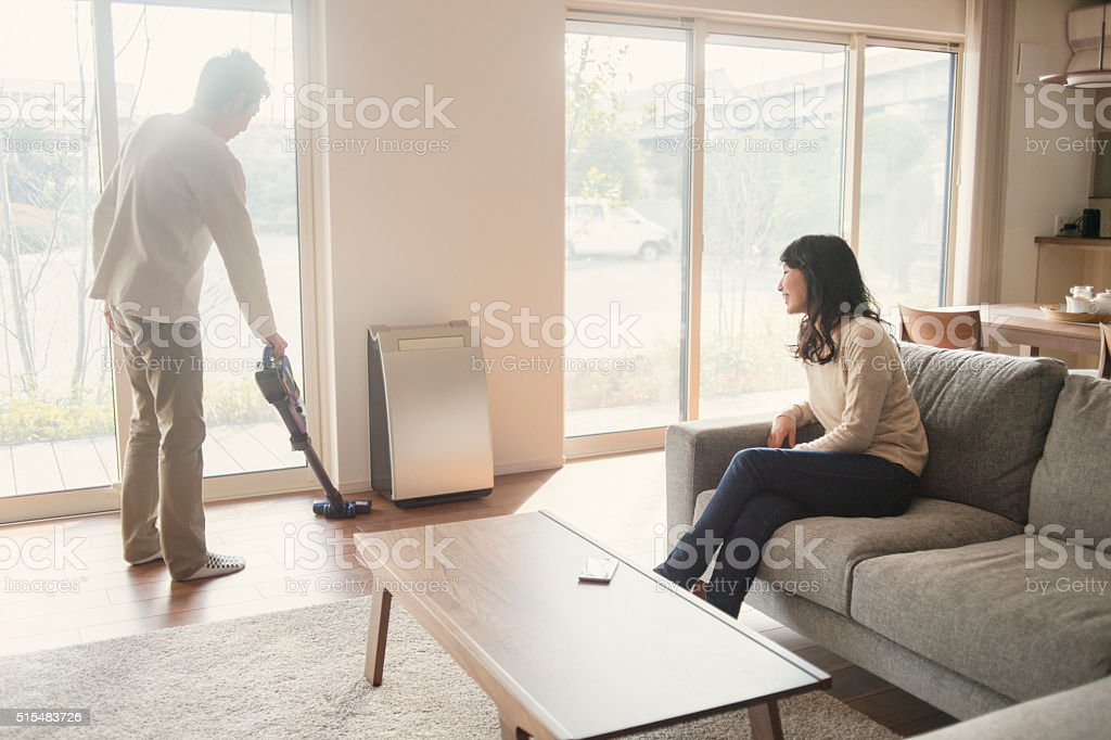 The couple has spent together in the living room stock photo