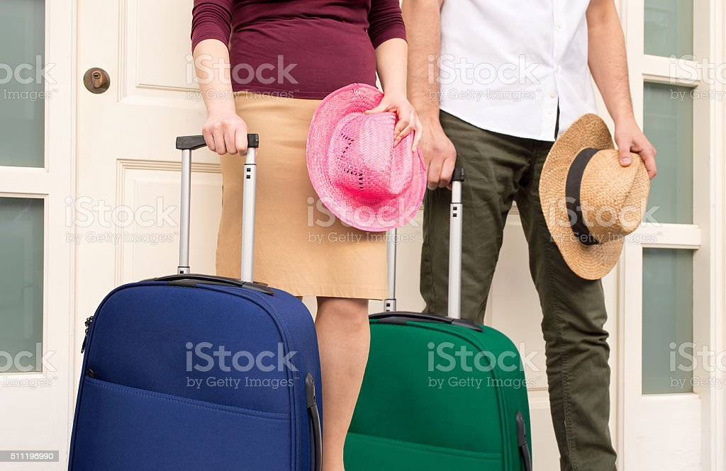 the couple is ready to the vacations stock photo