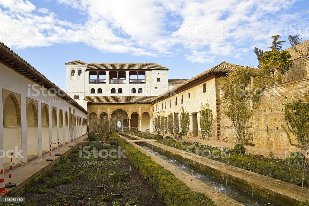 The Court of la Acequia in Generalife Palace. royalty-free stock photo