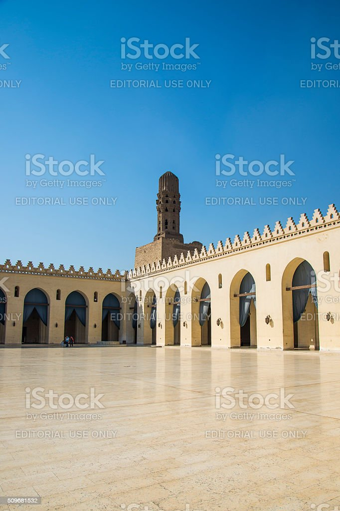 The courtyard of the Al-Hakim Mosque, Cairo (Egypt) stock photo