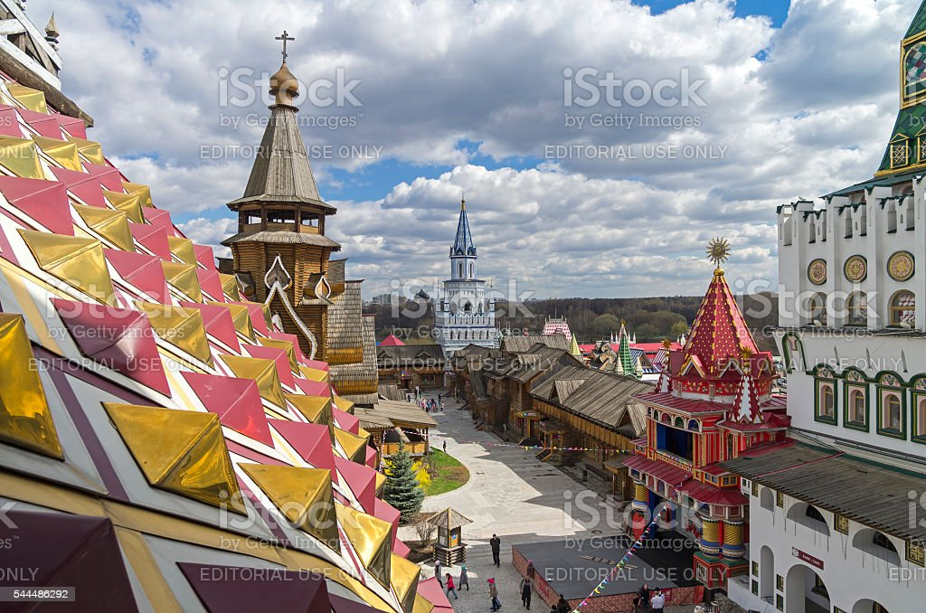 The courtyard of the Kremlin in Izmailovo, Moscow. stock photo