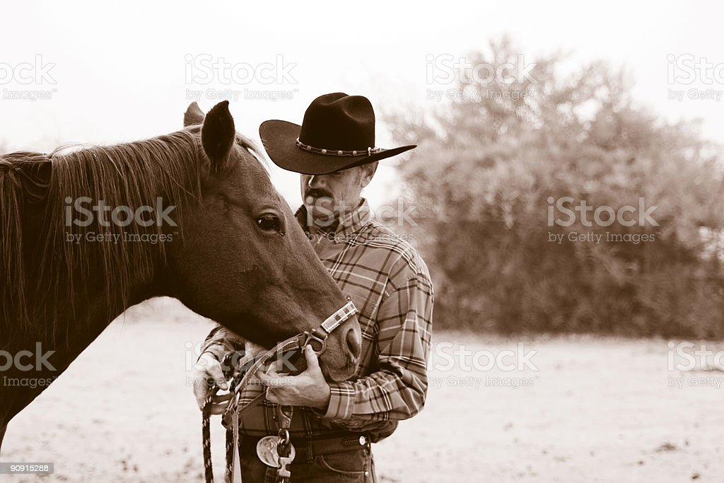 The Cowboy and his Horse royalty-free stock photo