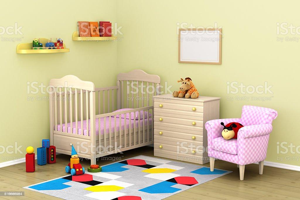 The cozy interior of children's room stock photo