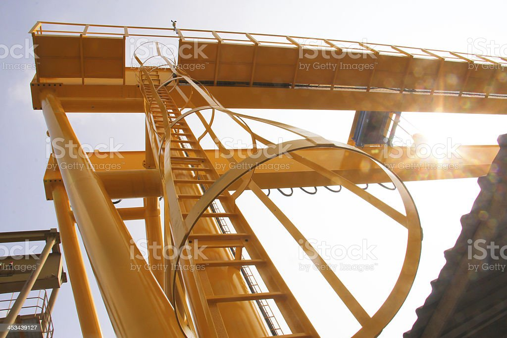 the crane is powered up stock photo