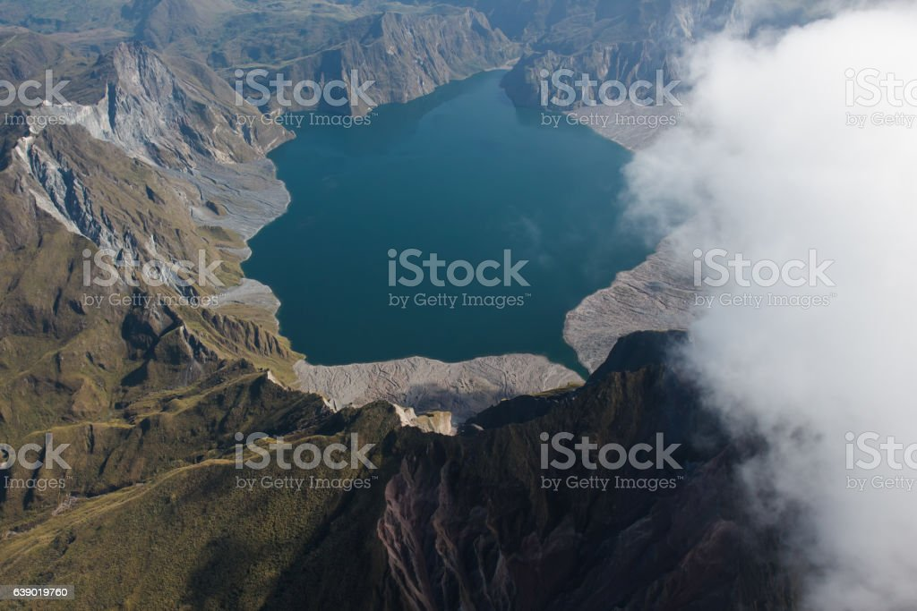 The crater of Mt. Pinatubo from the air, Philippines stock photo