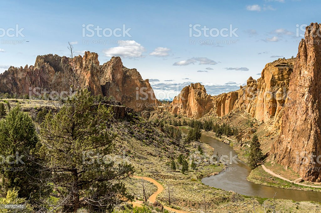 The Crooked River at Smith Rock State Park in Oregon stock photo