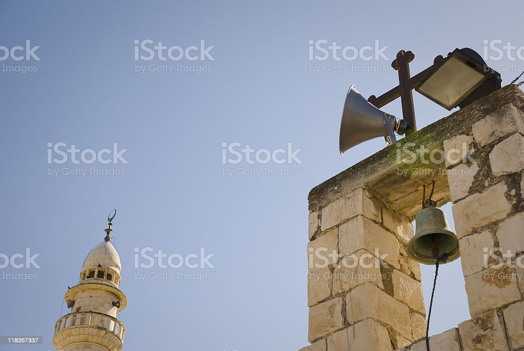 Church and Mosque in Palestinian West Bank village stock photo