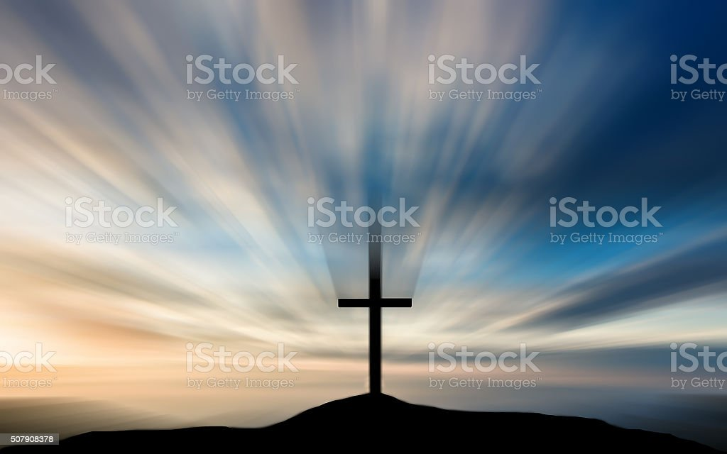 The cross on the hill in the morning. stock photo
