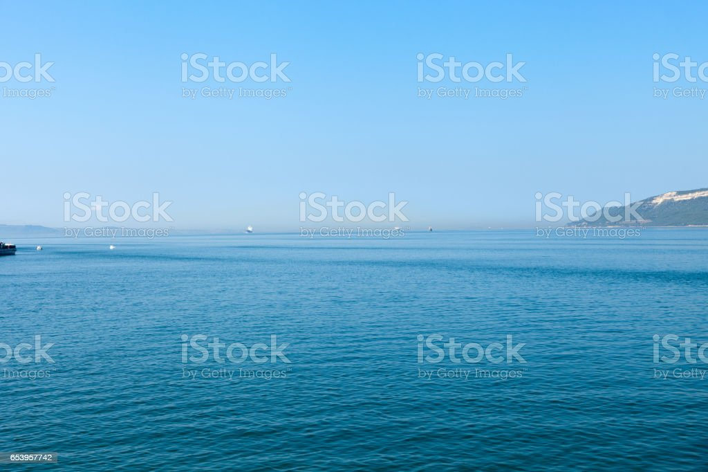 The crossing through the strait of Dardanelles from Asia to Europe stock photo