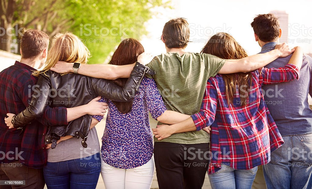 The crowd of best friends stock photo
