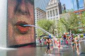 The Crown Fountain in Millenium Park, Chicago, Illinois