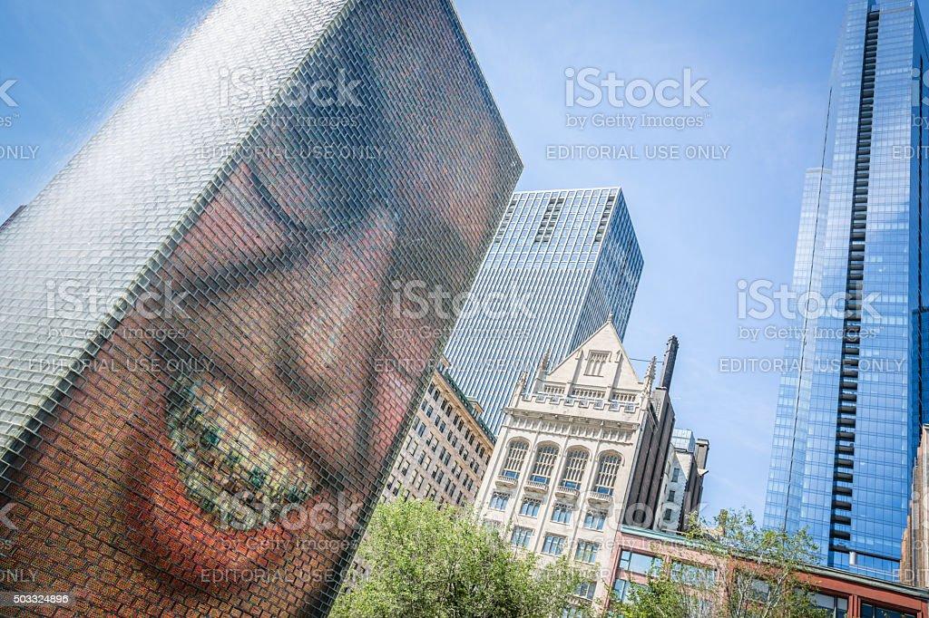 The Crown Fountain in Millenium Park, Chicago, Illinois stock photo