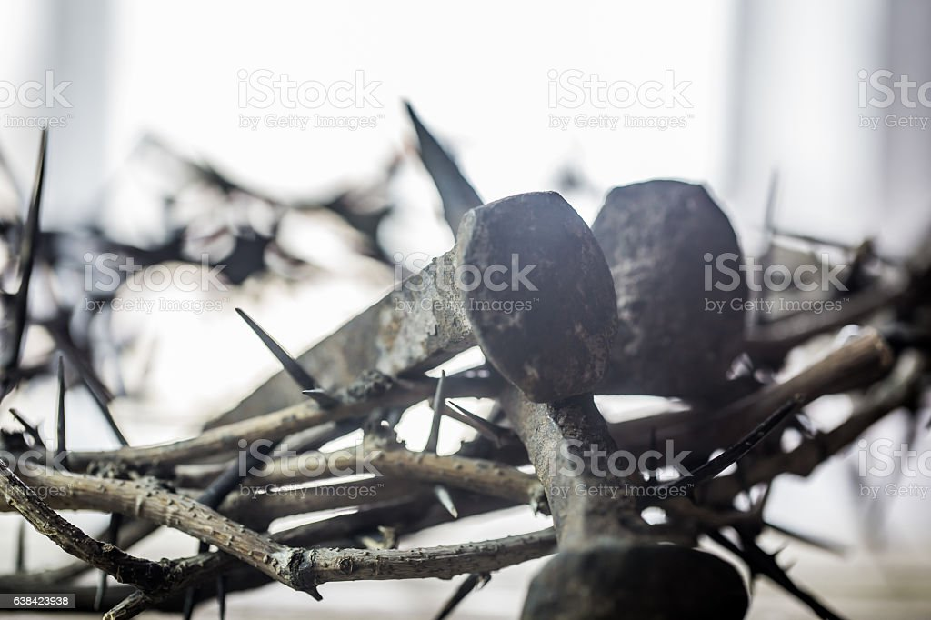 The crown of thorns and nails stock photo