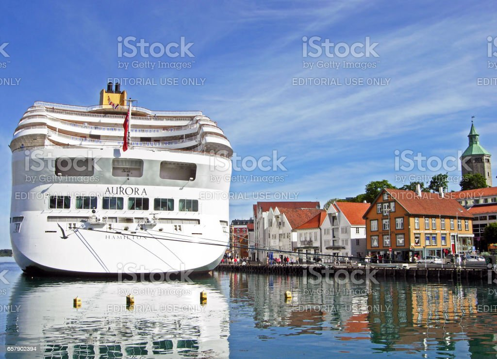 The cruise ship AURORA by P&O Cruises has moored at Skagenkaien Pier in the port of Stavanger (Norway) stock photo