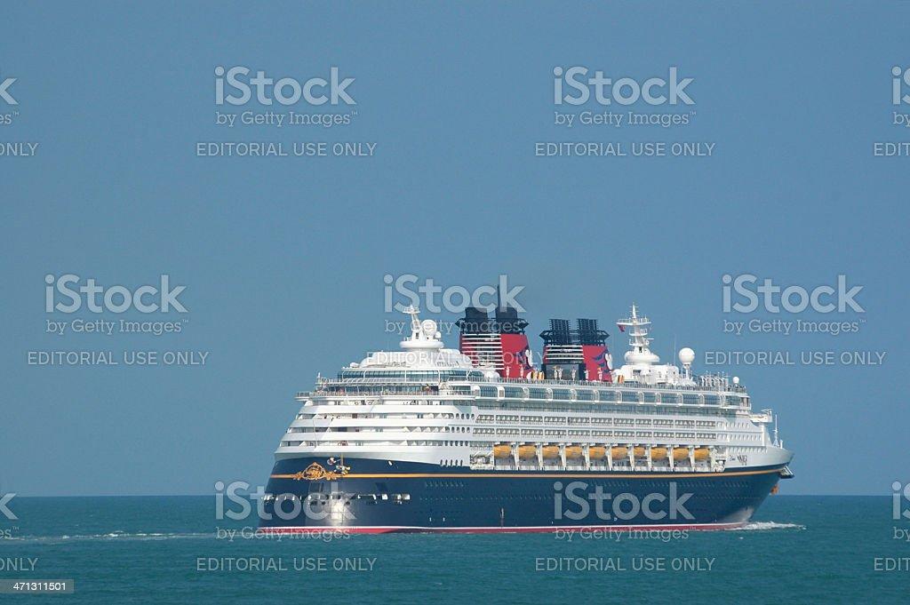The cruise ship Disney Wonder headed to sea stock photo