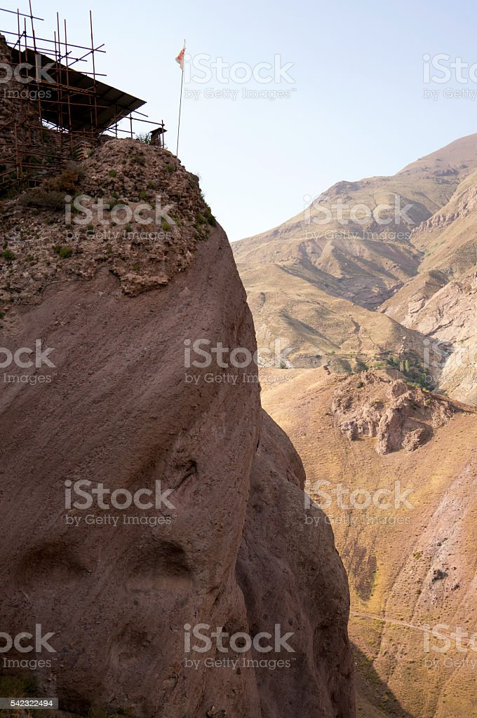 The crumbling ruins of the Alamut Castle in northern Iran stock photo