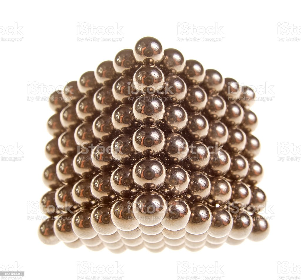 The cube of shiny metallic balls royalty-free stock photo