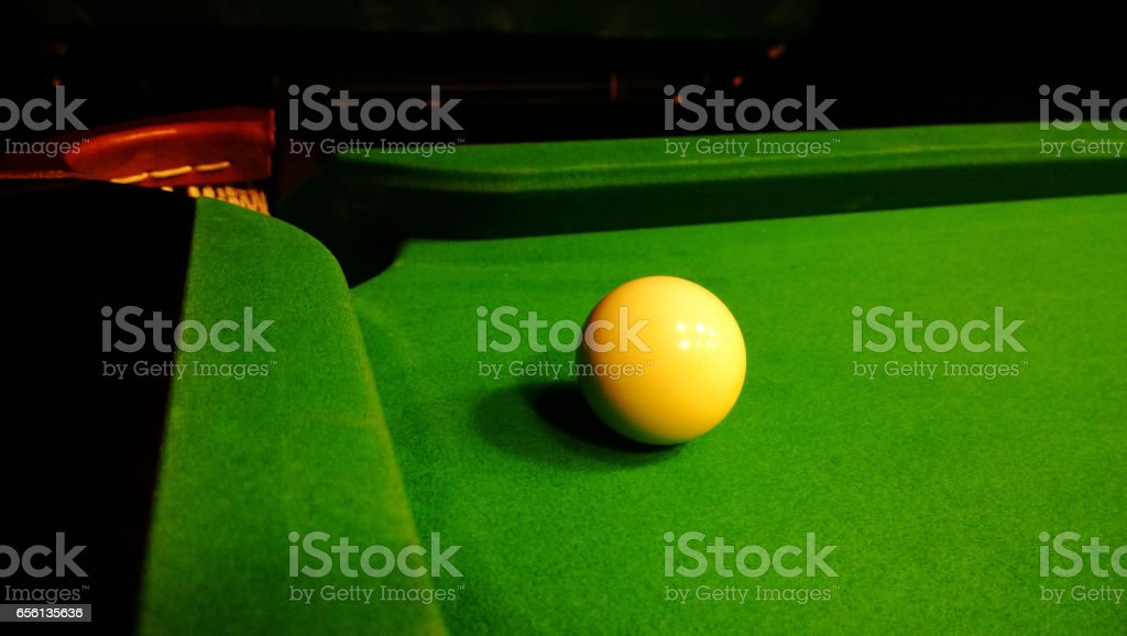 The cue ball close to the pocket stock photo