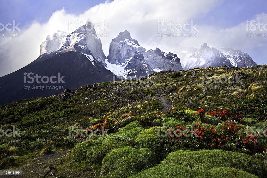 The Cuernos (horns), Torres del Paine stock photo