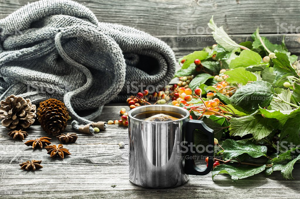 the Cup of tea on a beautiful wooden background stock photo
