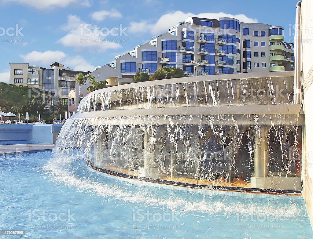 The curtain of water in a spa hotel royalty-free stock photo